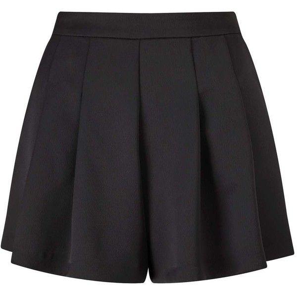 Miss Selfridge Black Satin Shorts found on Polyvore featuring shorts, black, tailored shorts, miss selfridge, satin shorts and party shorts