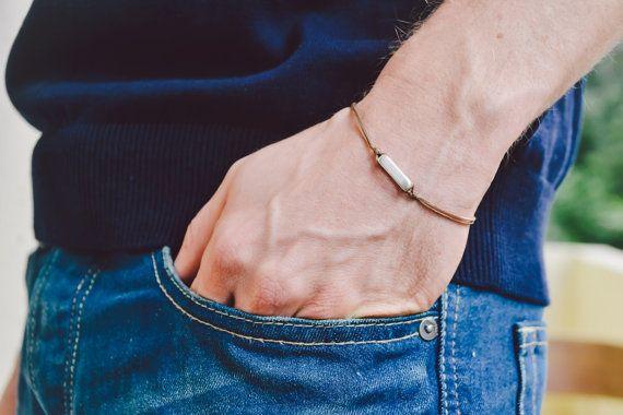Bracciale da uomo con un rettangolo argento perla di Principles