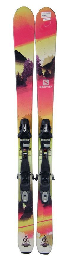 Salomon Q Lux 88 Women's Skis 159 cm with Tyrolia SP10 Bindings Pink/Yellow/White - USED - S