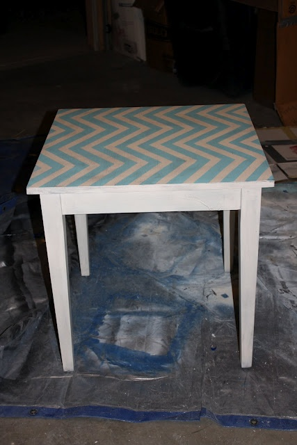 Aqua Chevron Table. Perfect for my Origami Owl office space!  http://loveablelockets.com