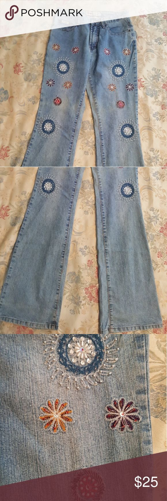 Daniel Original Design Jeans Stone washed Embroidered Sequin Jeans Daniel Jeans Pants Boot Cut & Flare