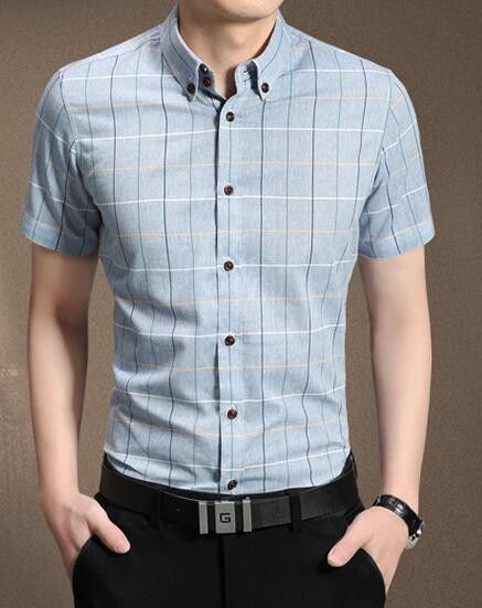 Men Short Sleeve Shirt Plaid Shirt Male Dress Shirts Mens Dress Shirts Hawaiian Camisa Social Masculina 5XL