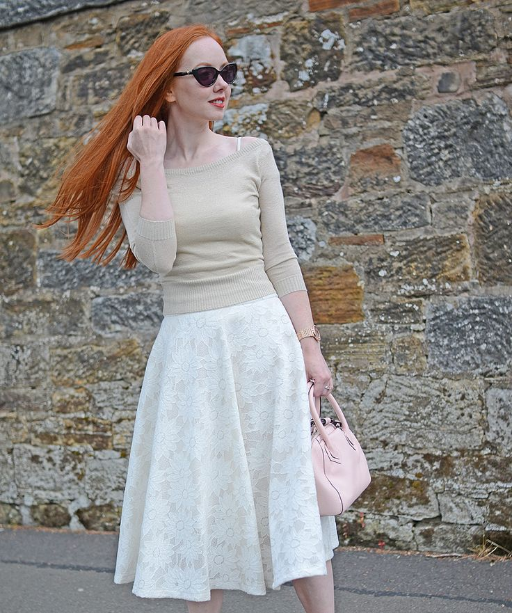 vintage inspired summer outfit: 50s style white floral lace skirt with gold bardot top