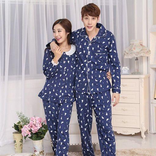 Hot Lady Male Nightgown Rabbit Autumn Loungewear Couple Leisurewear Bottoms&Top