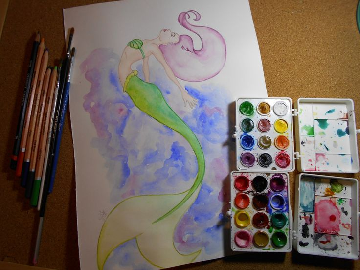 Mermaid watercolor painting