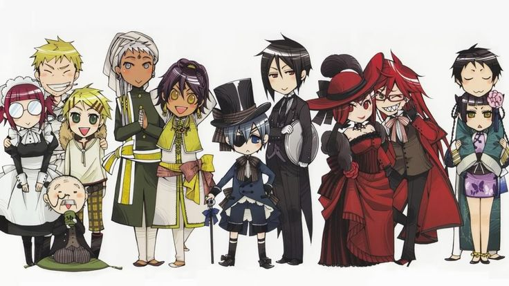 Black Butler, Mey-Rin, Bard, Finny, Tanaka, Agni, Soma, Ciel, Sebastian, Madam Red, Grell, Lau, and Ran-Mao