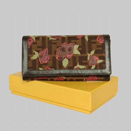 Fendi Coffee Leather with Rose Print Long Wallet            $69.00