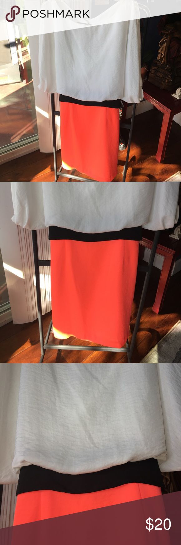 Brand New Two Tone Color Dress with Belt Brand New never worn Two Tone color dress with built in belt! Super cute and sophisticated. Sleeves are capped, bottom part is like a pink coral, cute cutout detail on the back!! Size is Junior but can definitely fit anyone. Size says 13/14 B. Smart Dresses Mini