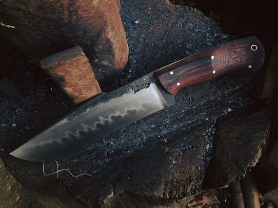 Clay Hamon Bowie Camping Knife Wood Sheath Hand Forged Bowie