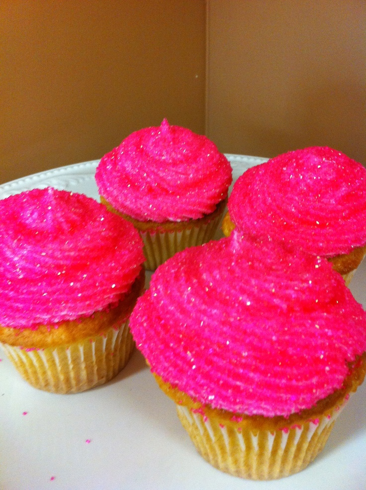 Hot Pink Sparkle Cupcakes <3