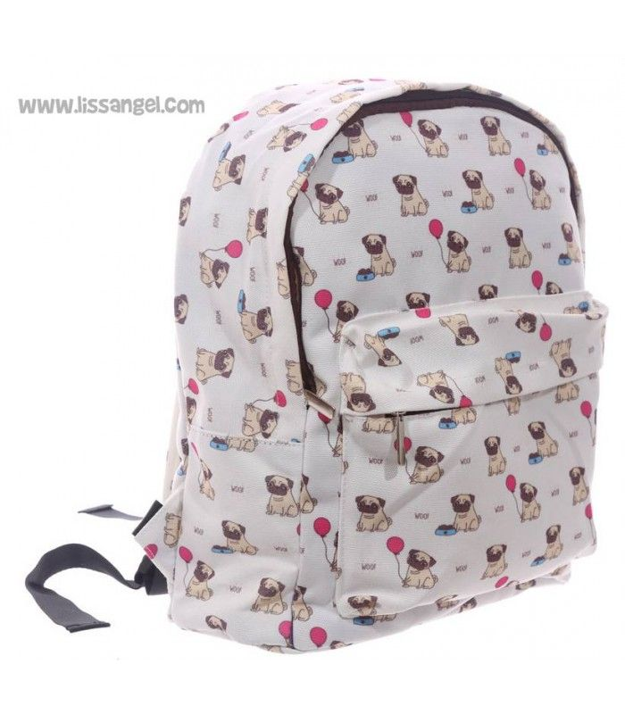 ¿Buscando #mochilas originales? Echa un vistazo a esta divertida mochila infantil de inspiración perruna, donde un montón de #perros #pug o #carlino posan sentaditos.    #mochila #niños #papeleria