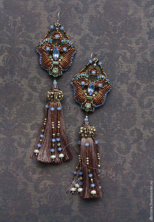 """Купить Вечерние серьги """"Эдем"""" - коричневый, длинные серьги, вечерние серьги, вечернее украшение"""