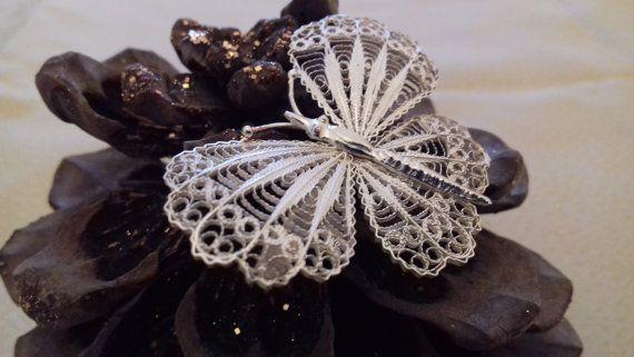 Silver 925  Butterfly Brooch by ArtFiligreeKosHellas on Etsy