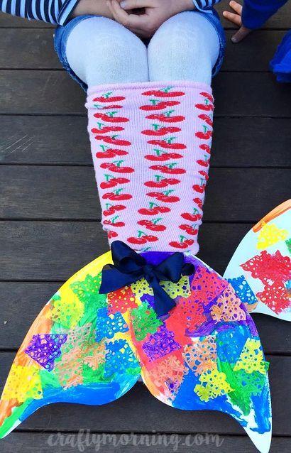 Make colorful cardboard mermaid sock tails as a kids craft! | CraftyMorning.com