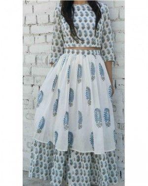 Block printed crop top and skirt set