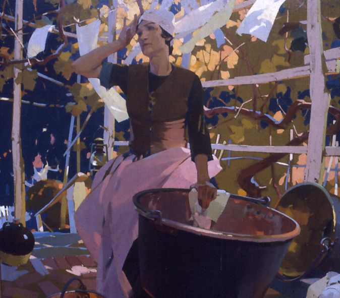 howard pyle teachings | Washer Woman- finished painting
