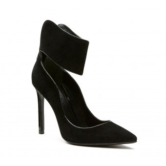 A sleek heel featuring a wide ankle strap and a pointed toe.