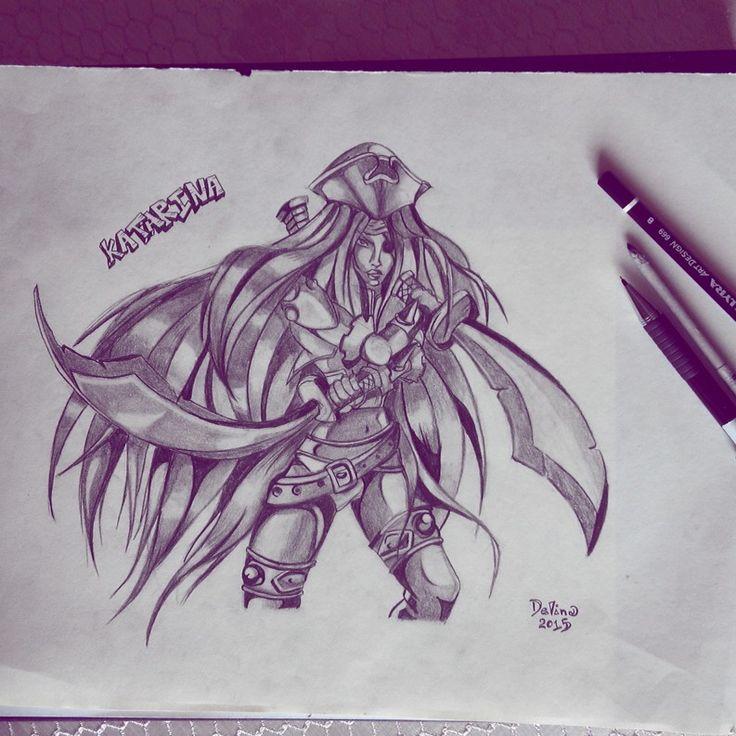 Katarina #lol #leagueoflegends #pencils #illustration #katarina #characterdesign #sketching #anime #animegirl