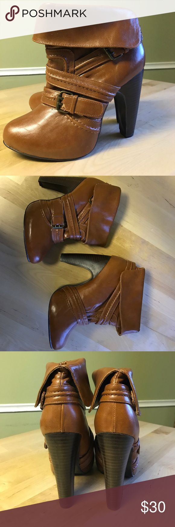 """Not Rated Booties Never before worn booties from the brand """"Not Rated"""". Nice cognac/tan leather color in size 7.5 Not Rated Shoes Ankle Boots & Booties"""
