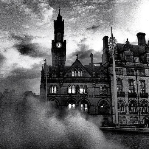 Bradford town hall in morning mist