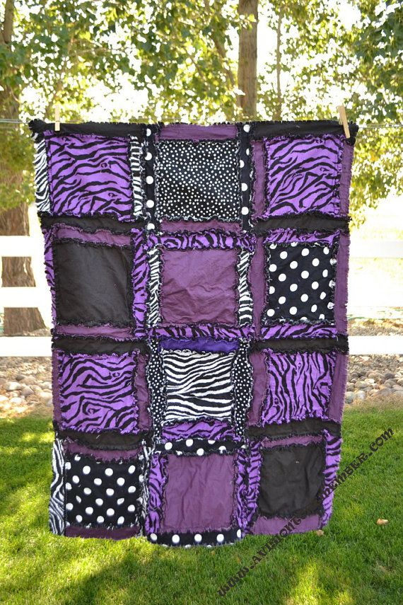 RAG QUILT, Purple, Black, Zebra, Baby Girl Blanket, Made to order