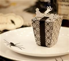My favorite is the spider on the plate! But the friends on top of the box make it worth it!  Project Center - Halloween Favor Box  #Cricut