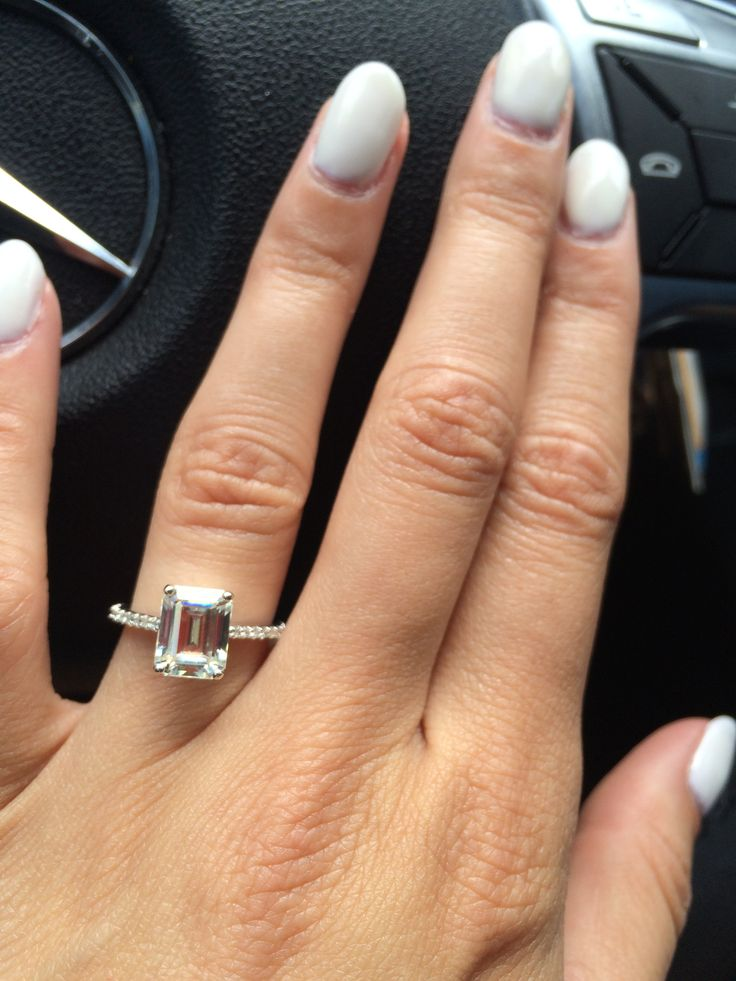 Emerald Cut Moissanite Engagement Ring Pics? - Weddingbee | Page 4