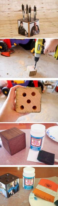 Photo Pen Holder   Click Pic for 20 Easy DIY Christmas Gifts for Grandfather   Handmade Gift Ideas for Grandparents from Kids