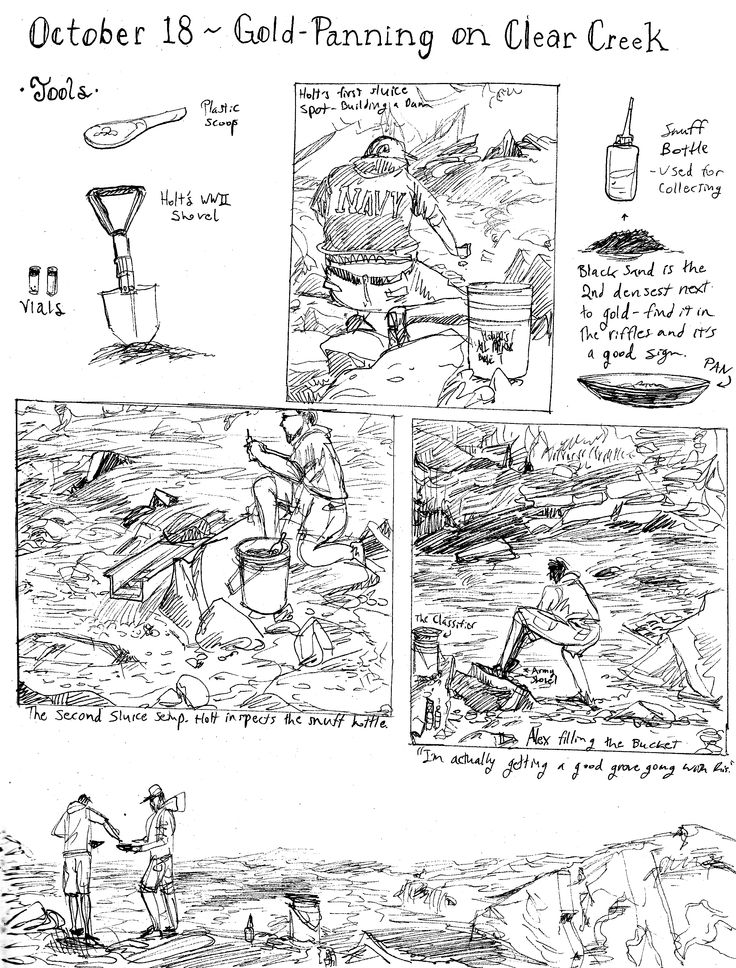 Dylan Rohn draws things. Like sketchy illustrations about gold-panning. #inktober2014 #gold panning