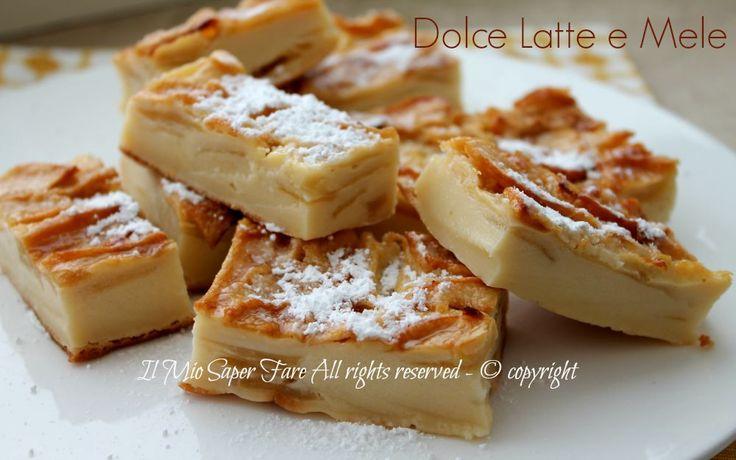 Dolce latte e mele   Torta di mele senza lievito sorprende per la piacevole consistenza: morbida e umida quasi come se fosse un budino con fettine di mele