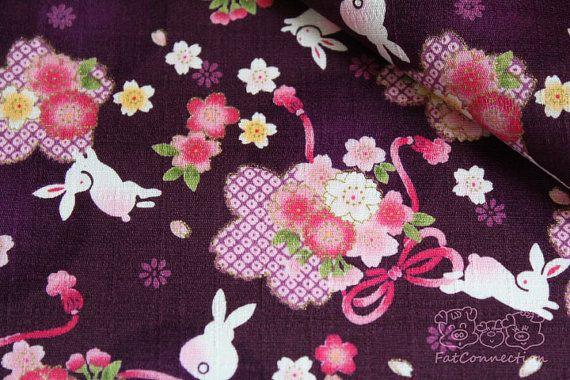 Sakura fantaisiste violetcoton japonais 05 yard par fatconnection, $7.00