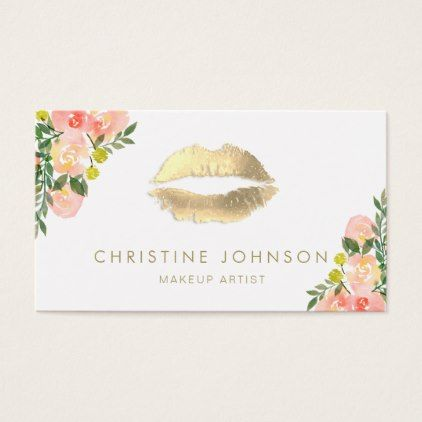 #makeupartist #businesscards - #gold lipstick kiss and floral decor business card