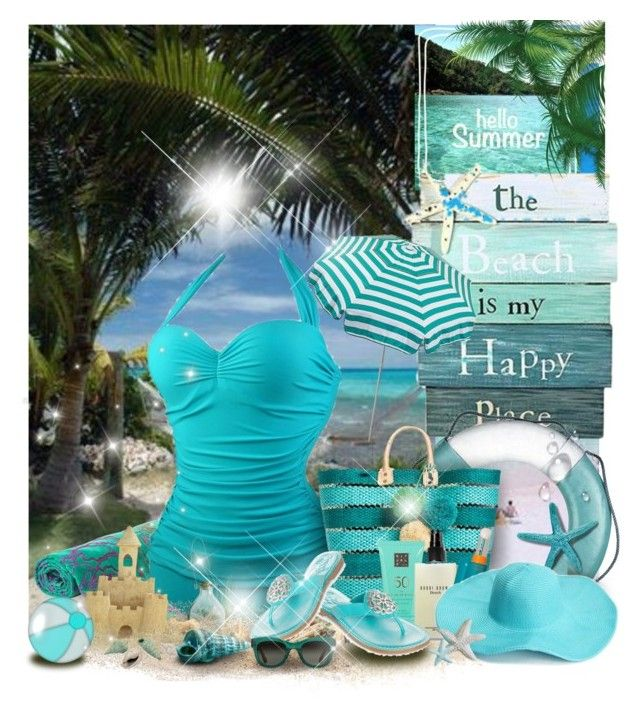 """The beach!👙"" by gianna-pellegrini on Polyvore featuring moda, Caribbean Joe, Elaiva, Parasol, Mar y Sol, Bobbi Brown Cosmetics, Brighton, Shiseido e TOMS"