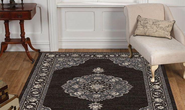 Tappeto classico stile vintage colore nero con disegno centrale collezione FEDORA 950048-3838