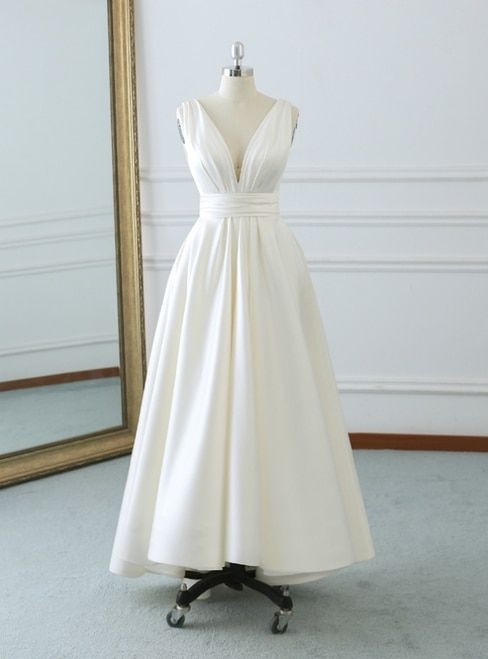 6f4dfffc547 Ivory White Satin Deep V-neck Backless Tea Length Wedding Dress With ...