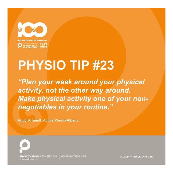 Plan your week around physical activity #physiotip