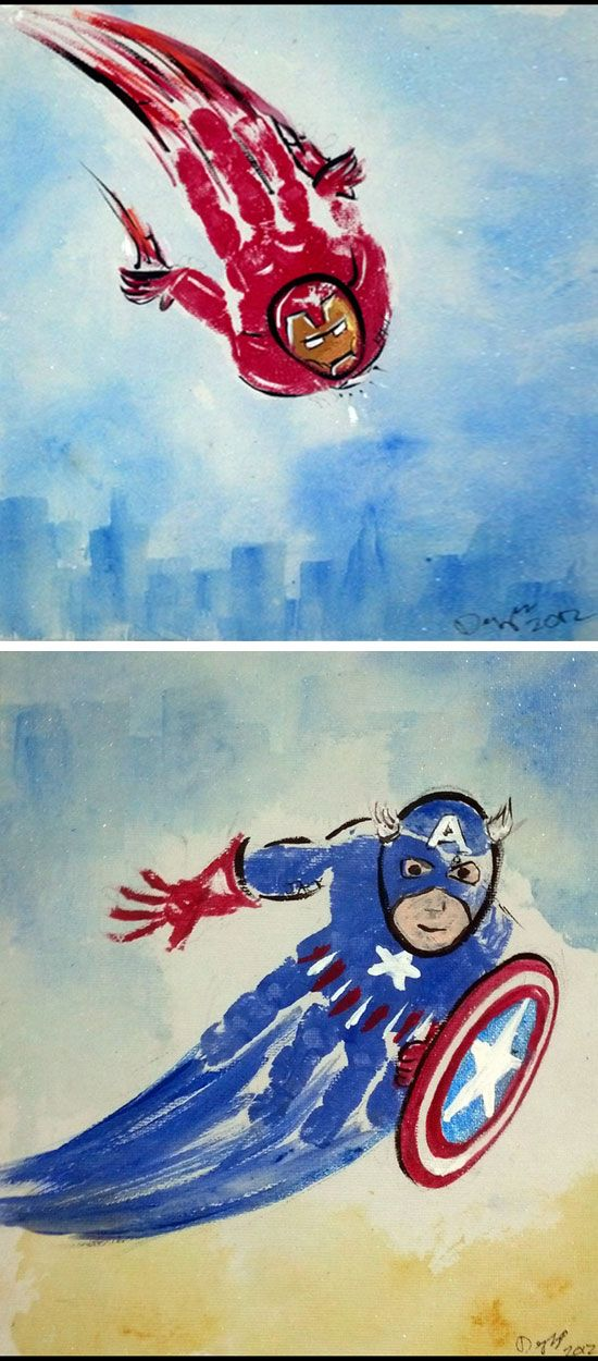 Handprint Superheroes | 18 DIY Summer Art Projects for Kids to Make | Easy Art…