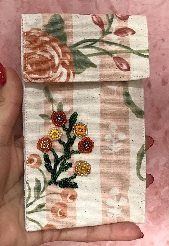 Phone case print rose and flower embroidered with beads
