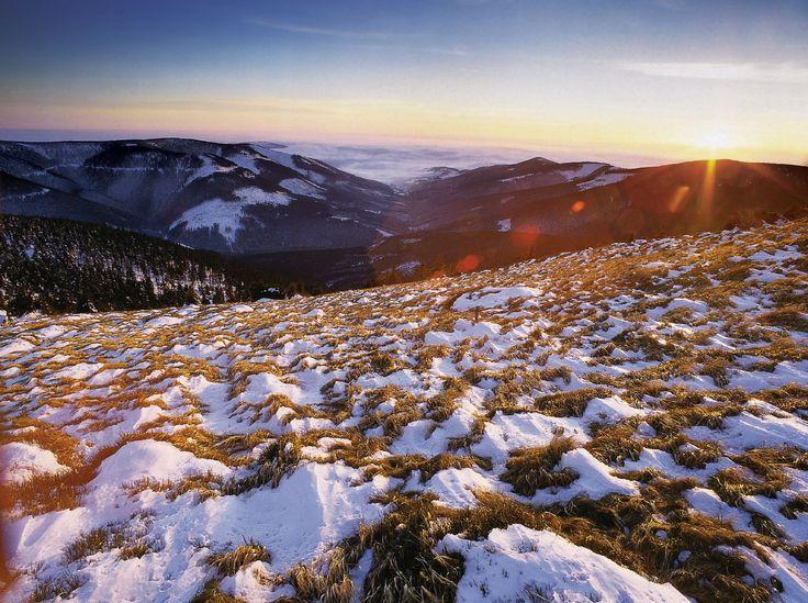 západ slunce z Králického Sněžníku