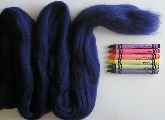 MERINO WOOL TOP - Dark Blue  (approximately 1 oz) - From Purple Moose Felting