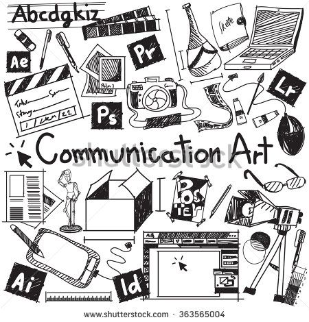 Communication art media university faculty major doodle sign and symbol icon tool in white isolated background paper used for college education and document decoration with subject header text, vector