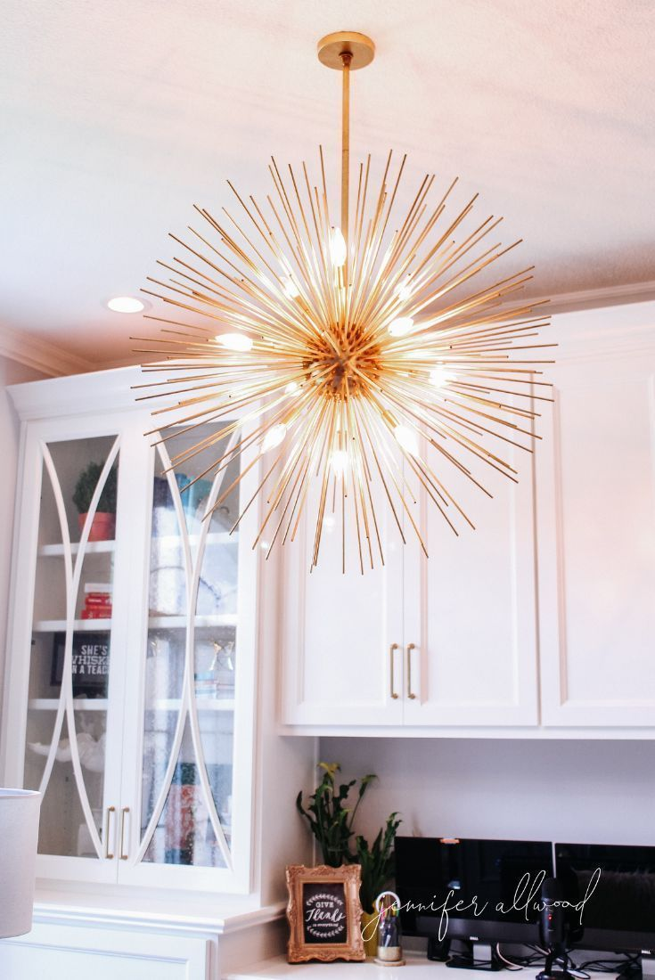 Home Office Lighting Ideas Makeover By Jennifer Allwood | Office Built Ins  || Home Office Decor Ideas | Home Office Design | Home Office Chandelier |  Gold ...