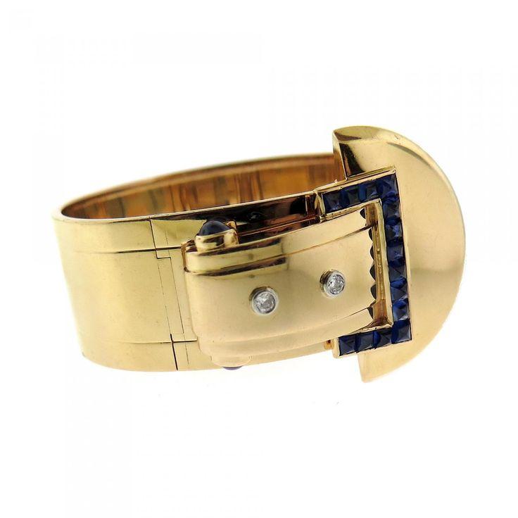Cartier Sapphire, Diamond, and 14kt Gold Buckle Bracelet