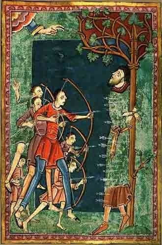 King St Edmund the Martyr (c. 841 - 20 November 869/870) - in medieval times one of the Patron Saints of England. In many military campaigns, the banners of St Edmund, St Edward the Confessor and St George were flown by the English army.