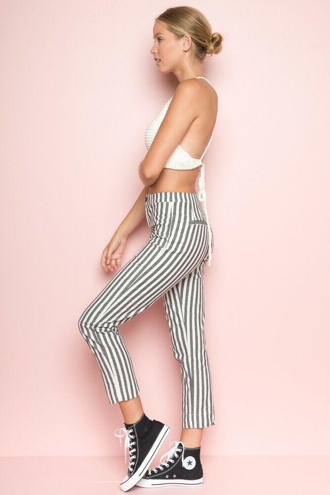 New brandy melville high rise Cream//white striped tilden elasticize pants NWT