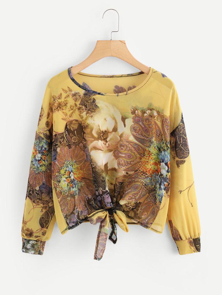 Shop Ornate Print Drop Shoulder Knot Chiffon Blouse online. SheIn offers Ornate Print Drop Shoulder Knot Chiffon Blouse & more to fit your fashionable needs.