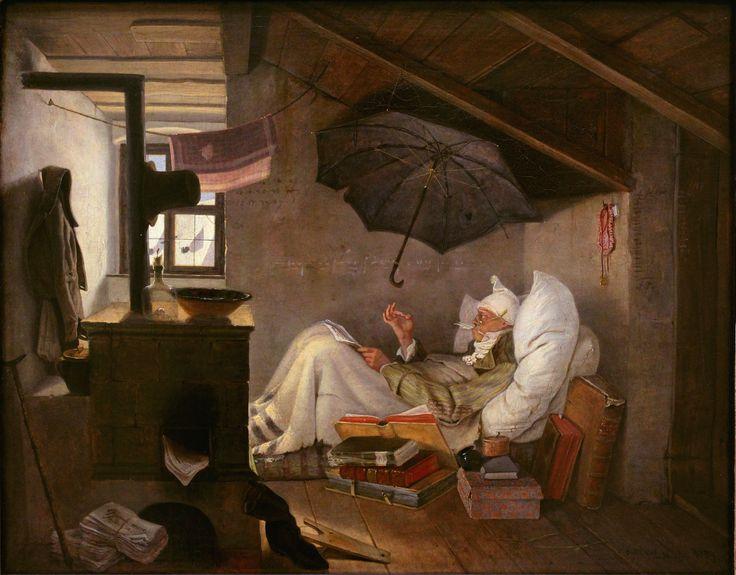 Carl Spitzweg (1808-1885), Der arme Poet, Neue Pinakothek, München