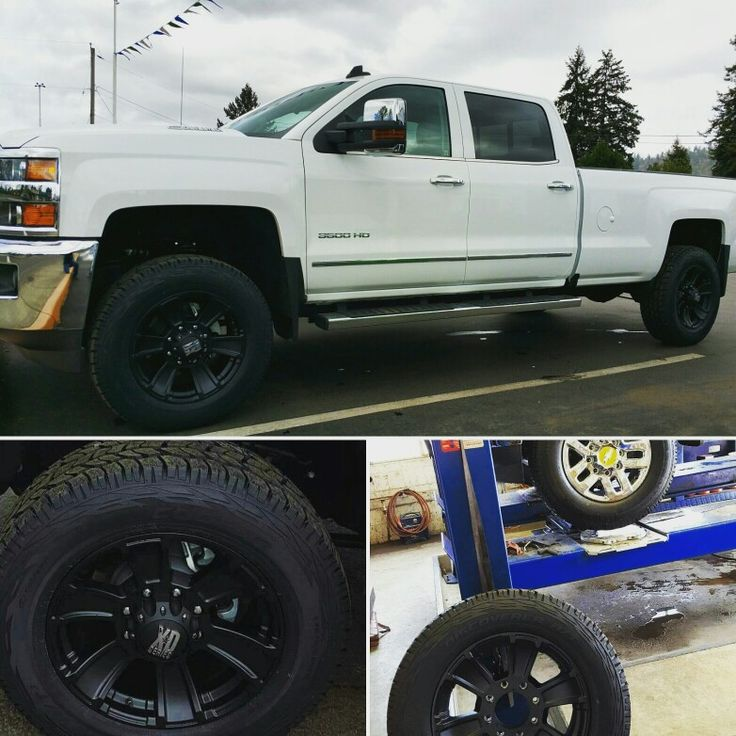 "Ron's 2016 Duramax upgraded with @Revtek Leveling Package, 34""  @coopertire #at3 and @kmcwheels #XD #revolver 20's! #duramax #pointstire #chevy #springfling #tirefactory #cooper #revtek #KMC #gettothepoint"