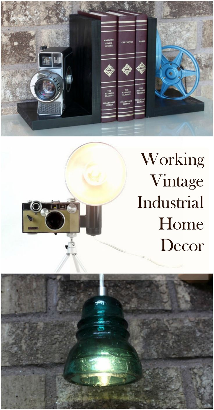 Working Vintage Industrial Home Decor Collage from Light and Time Art on Etsy. Great gift ideas from upcycled vintage pieces like antique still and movie cameras, reel to reel movies and even insulators.