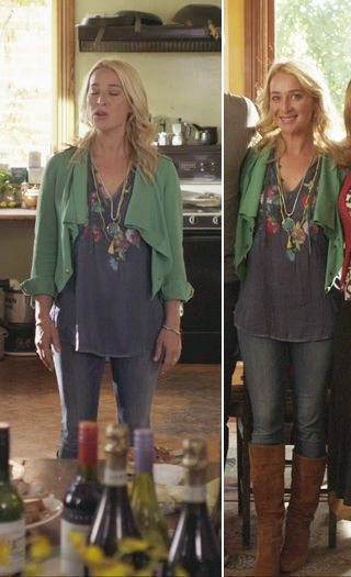 Green is on scene with Nina's wardrobe in season 4. In episode 1, Nina works a casual bohemian look, layering a navy blue kaftan with a green waterfall lapel jacket